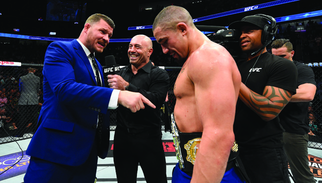 Robert Whittaker (r) is challenged to a unification clash by champion Michael Bisping.