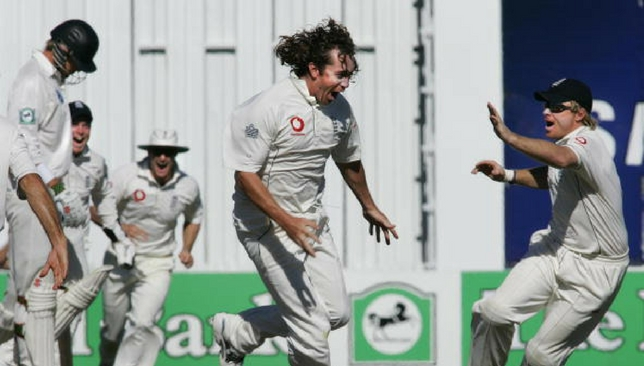 Ryan Sidebottom celebrates after taking a hat-trick against New Zealand in 2008.