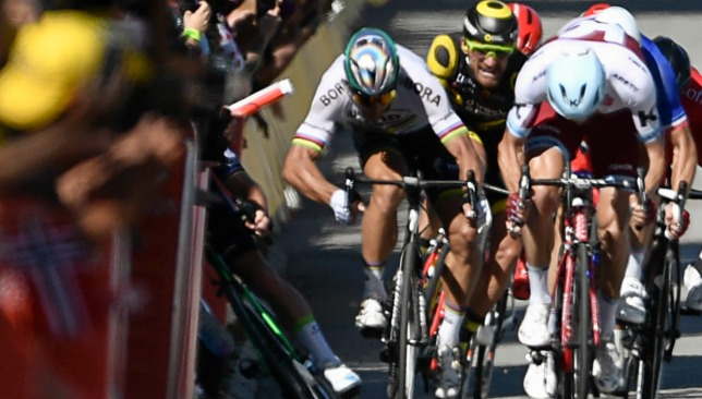 Sagan's flashing elbow caught Cavendish flush.