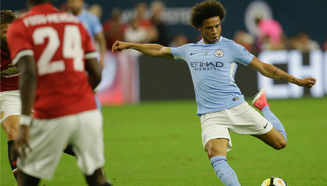 Leroy Sane in action for City, who were playing their first game of the summer