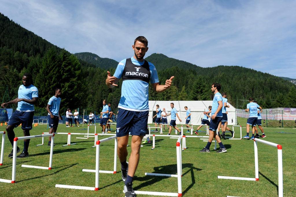 Making his defence: De Vrij in pre-season training with Lazio.