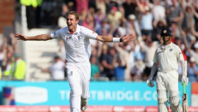 Stuart Broad celebrates after taking a hat-trick against India in 2011.