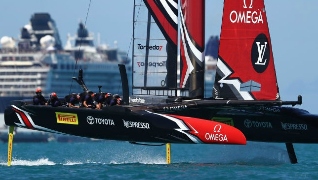 Oracle Team USA skippered by Jimmy Spithill in action racing against Emirates Team New Zealand helmed by Peter Burling on day 4 of the America's Cup Match Presented by Louis Vuitton on June 25, 2017 in Hamilton, Bermuda.