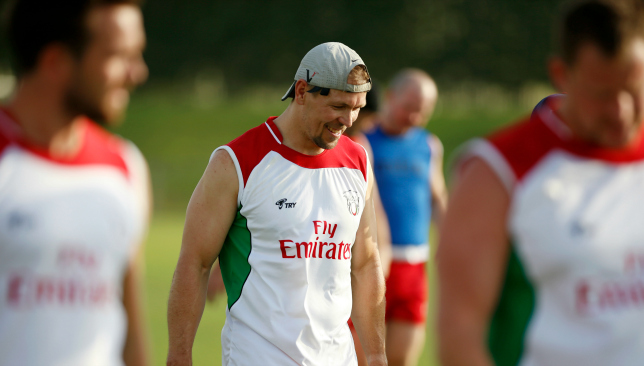Lewsey in training with the UAE ahead of May's Asia Rugby Championship