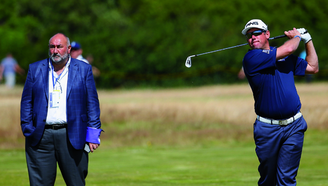 Breaking up: Lee Westwood with Andrew 'Chubby' Chandler.