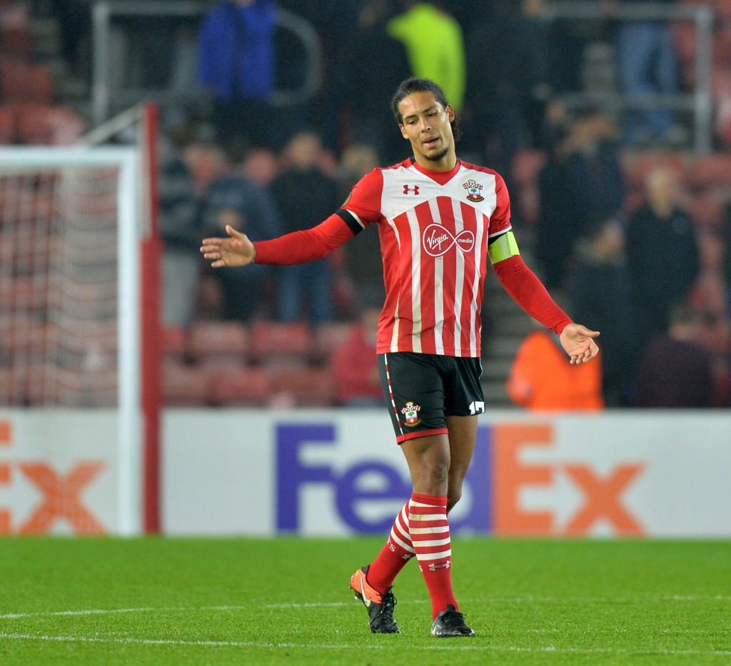 Southampton's Dutch defender Virgil van Dijk reacts after the UEFA Europa League group K football match between Southampton and Hapoel Beer Sheva at St Mary's Stadium in Southampton, southern England, on December 8, 2016. Hapoel Beer Sheva qualified for the final 32 after the game ended 1-1. / AFP / OLLY GREENWOOD (Photo credit should read OLLY GREENWOOD/AFP/Getty Images)
