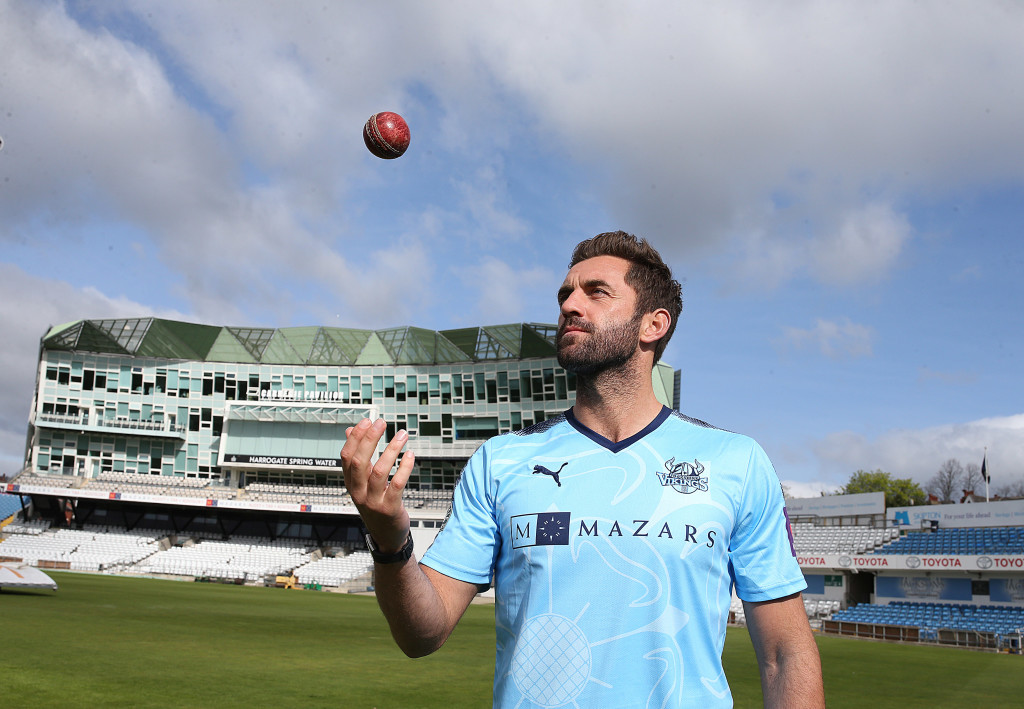 LEEDS, ENGLAND - APRIL 05:  Liam Plunkett of Yorkshire   poses for a portrait during their press day at Headingley on April 5, 2017 in Leeds, England. (Photo by Nigel Roddis/Getty Images)