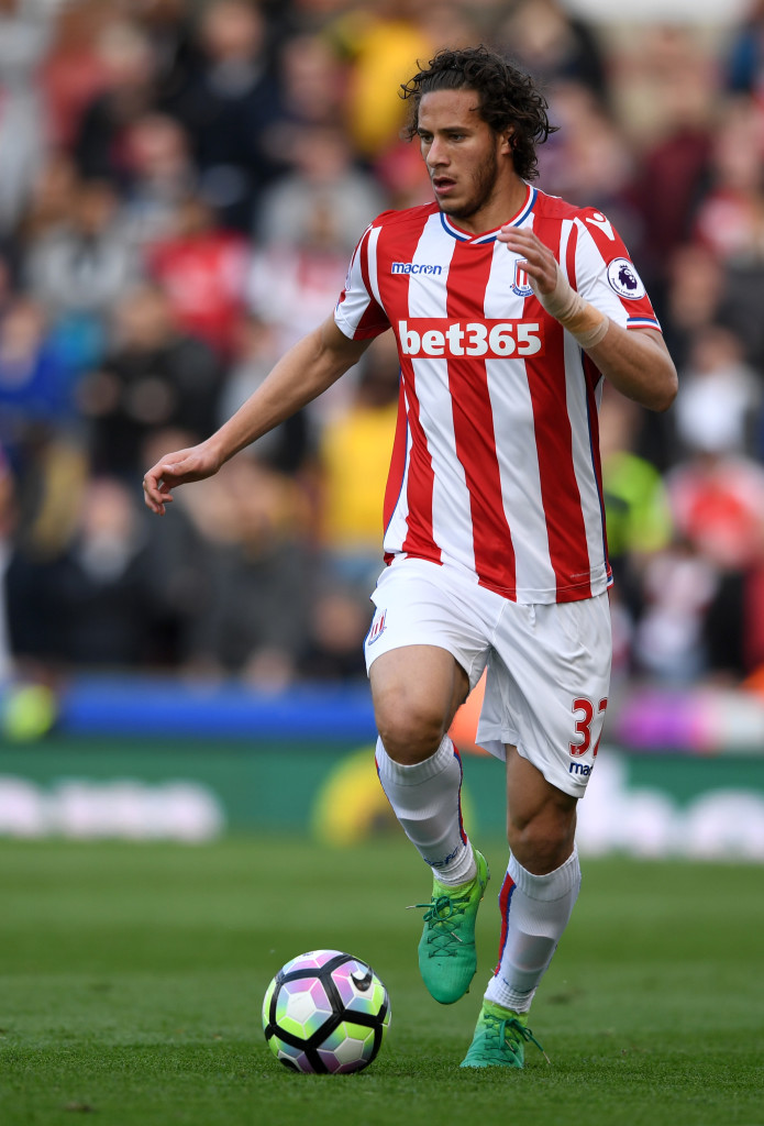 STOKE ON TRENT, ENGLAND - MAY 13: Ramadan Sobhi of Stoke City during the Premier League match between Stoke City and Arsenal at Bet365 Stadium on May 13, 2017 in Stoke on Trent, England. (Photo by Gareth Copley/Getty Images)