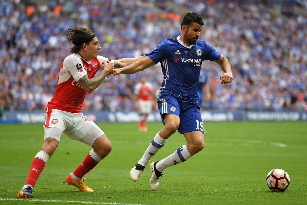 LONDON, ENGLAND - MAY 27:  Hector Bellerin of Arsenal challenges Diego Costa of Chelsea during The Emirates FA Cup Final between Arsenal and Chelsea at Wembley Stadium on May 27, 2017 in London, England.  (Photo by Laurence Griffiths/Getty Images)