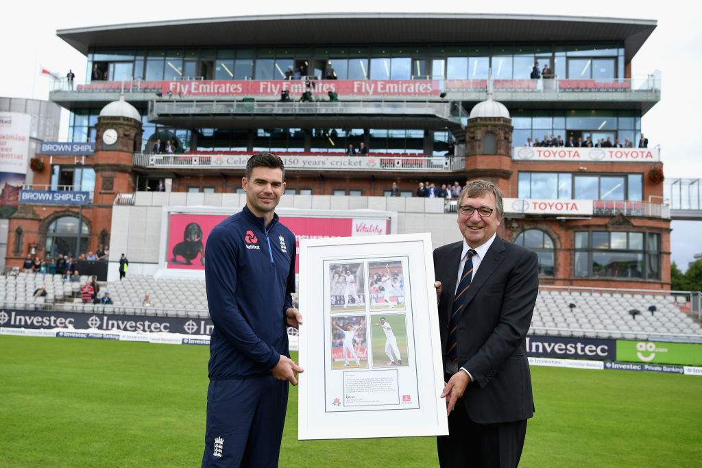 Anderson was presented with a framed photo ahead of the Test