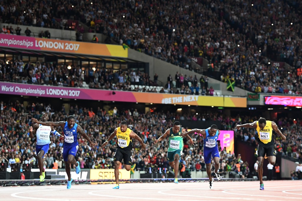 (L-R) Britain's Reece Prescod, US athlete Justin Gatlin, Jamaica's Yohan Blake, South Africa's Akani Simbine, US athlete Christian Coleman, Jamaica's Usain Bolt compete in the final of the men's 100m athletics event at the 2017 IAAF World Championships at the London Stadium in London on August 5, 2017. / AFP PHOTO / Jewel SAMAD (Photo credit should read JEWEL SAMAD/AFP/Getty Images)
