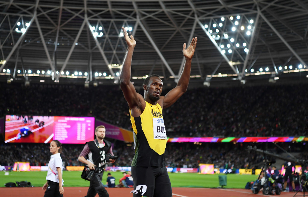 LONDON, ENGLAND - AUGUST 05: Usain Bolt of Jamaica celebrates finishing in third following the mens 100m final during day two of the 16th IAAF World Athletics Championships London 2017 at The London Stadium on August 5, 2017 in London, United Kingdom. (Photo by Shaun Botterill/Getty Images)