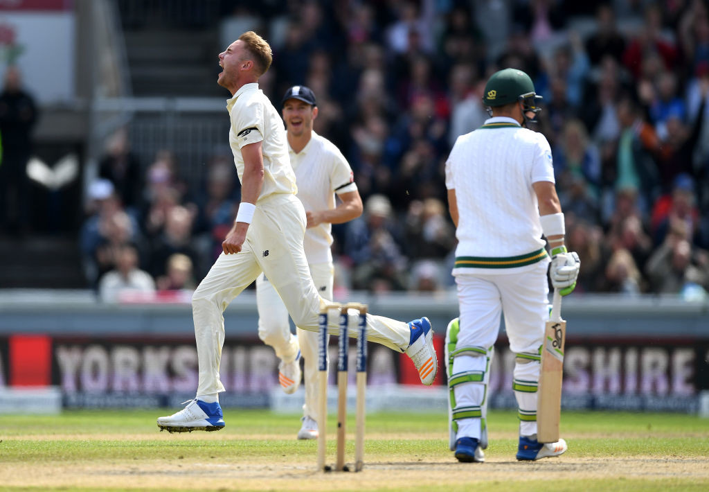Broad sent back Elgar in just the fourth over of South Africa's innings