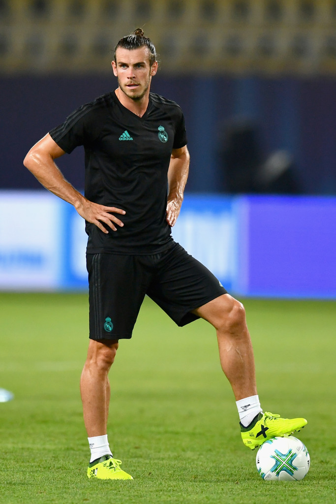 SKOPJE, MACEDONIA - AUGUST 07: Gareth Bale of Real Madrid looks on during a training session ahead of the UEFA Super Cup final between Real Madrid and Manchester United on August 7, 2017 in Skopje, Macedonia. (Photo by Dan Mullan/Getty Images)