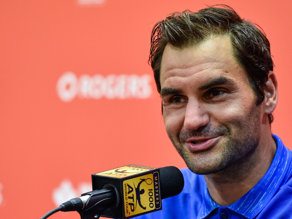 MONTREAL, QC - AUGUST 11: Roger Federer of Switzerland addresses the media after defeating Roberto Bautista Agut of Spain 6-4, 6-4 during day eight of the Rogers Cup presented by National Bank at Uniprix Stadium on August 11, 2017 in Montreal, Quebec, Canada. (Photo by Minas Panagiotakis/Getty Images)