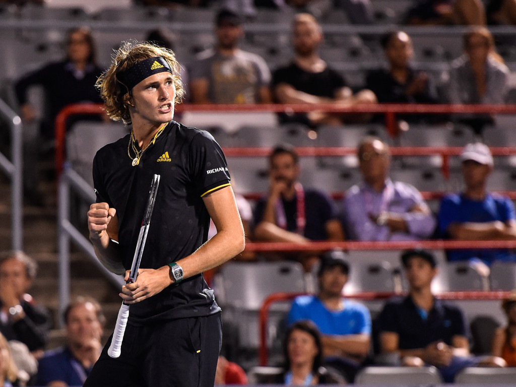 MONTREAL, QC - AUGUST 11: Alexander Zverev of Germany reacts after winning the first set against Kevin Anderson of South Africa during day eight of the Rogers Cup presented by National Bank at Uniprix Stadium on August 11, 2017 in Montreal, Quebec, Canada. (Photo by Minas Panagiotakis/Getty Images)