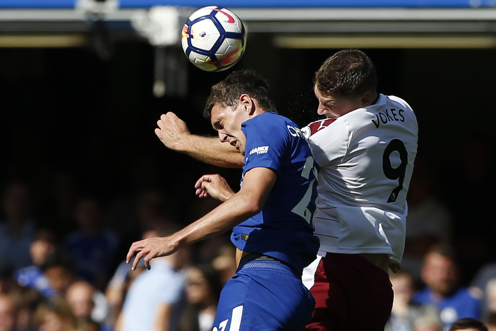 Andreas Christensen and Sam Vokes battle for the ball