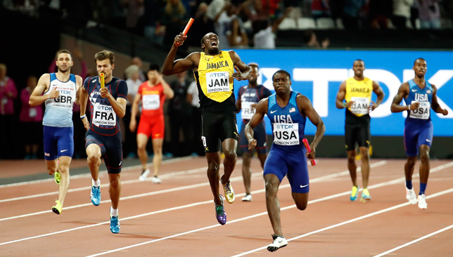 Usain Bolt pulls up during the relay.