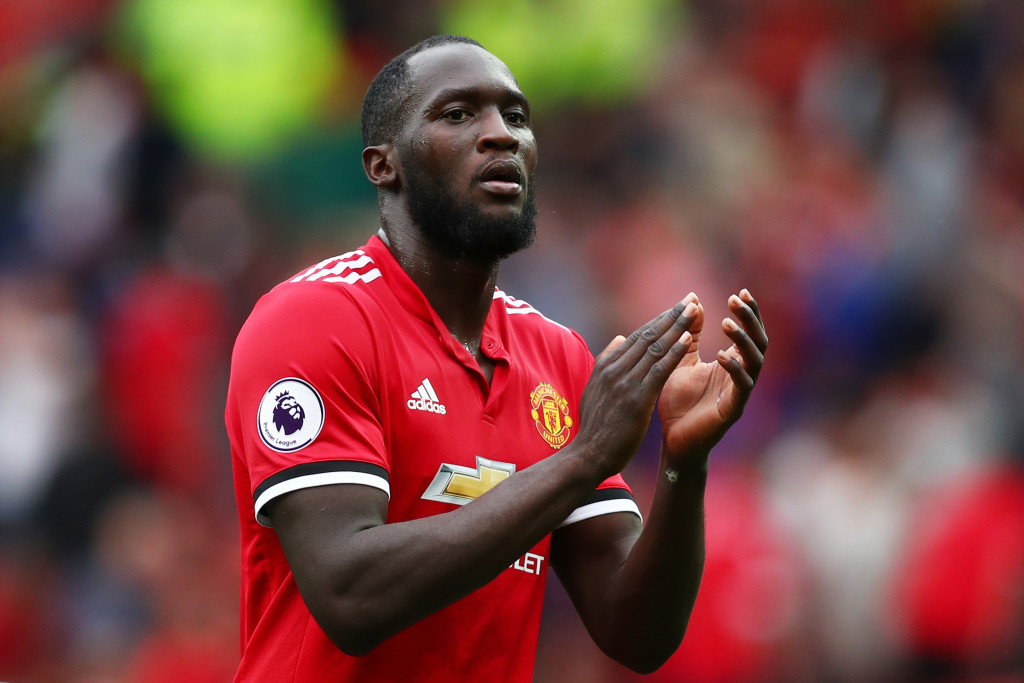MANCHESTER, ENGLAND - AUGUST 13: Romelu Lukaku of Manchester United shows appreciation to the fans after the Premier League match between Manchester United and West Ham United at Old Trafford on August 13, 2017 in Manchester, England. (Photo by Dan Istitene/Getty Images)