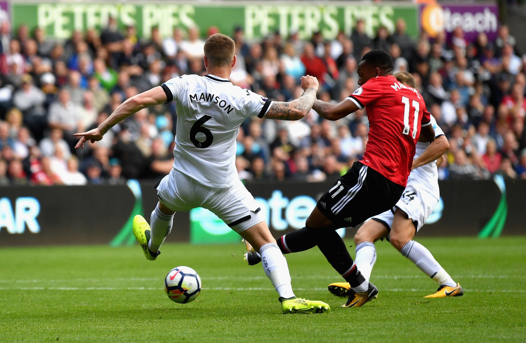 Anthony Martial scores against Swansea
