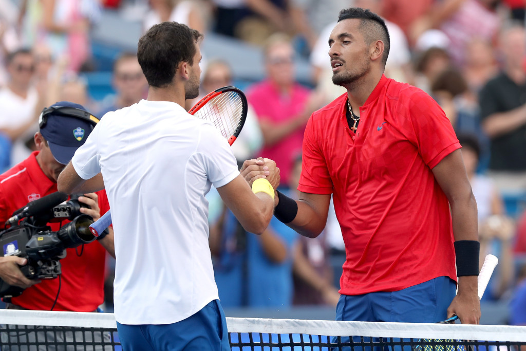 MASON, OH - AUGUST 20:  Grigor Dimitrov of Bulgaria is congratulated by Nick Kyrgios of Australia after their match during the men's final on day 9 of the Western & Southern Open at the Lindner Family Tennis Center on August 20, 2017 in Mason, Ohio.  (Photo by Matthew Stockman/Getty Images)