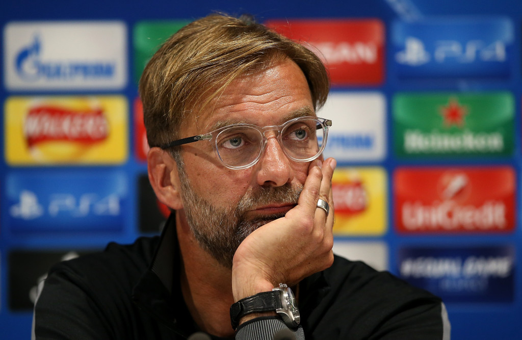 Jurgen Klopp speaks to the press