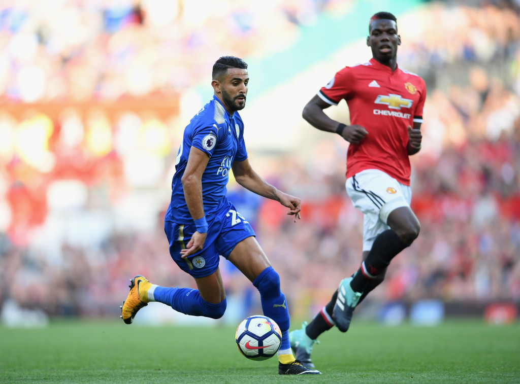MANCHESTER, ENGLAND - AUGUST 26: Riyad Mahrez of Leicester City in action during the Premier League match between Manchester United and Leicester City at Old Trafford on August 26, 2017 in Manchester, England. (Photo by Ross Kinnaird/Getty Images)