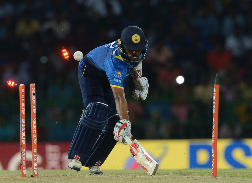 Mendis is run-out from a direct-hit by KL Rahul.