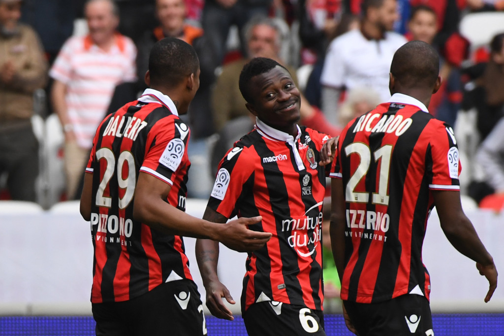 Seri-ous business: Jean Michael Seri, centre, is a reported Barca target.