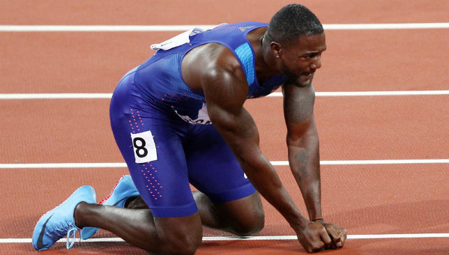 Justin Gatlin celebrates after winning the 100m race.