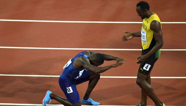 Justin Gatlin (L), Usain Bolt (R)