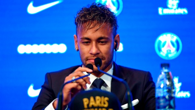 Neymar was unveiled at the Parc des Princes on Friday.