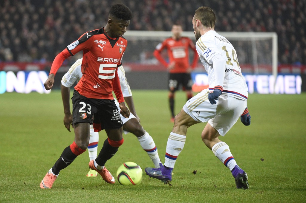 Rennes rebel: Ousmane Dembele, left, after returning to play for the French club