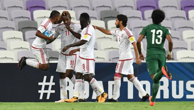 Khalil's the king: UAE players celebrate Ahmed Khalil's goal (Getty).
