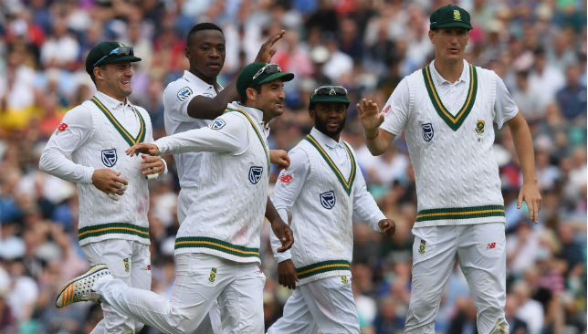 South Africa celebrate the fall of Jonny Bairstow's wicket.