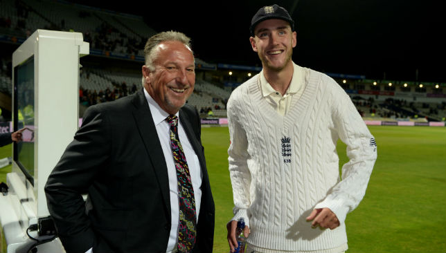 Stuart Broad (R) is congratulated by Sir Ian Botham.