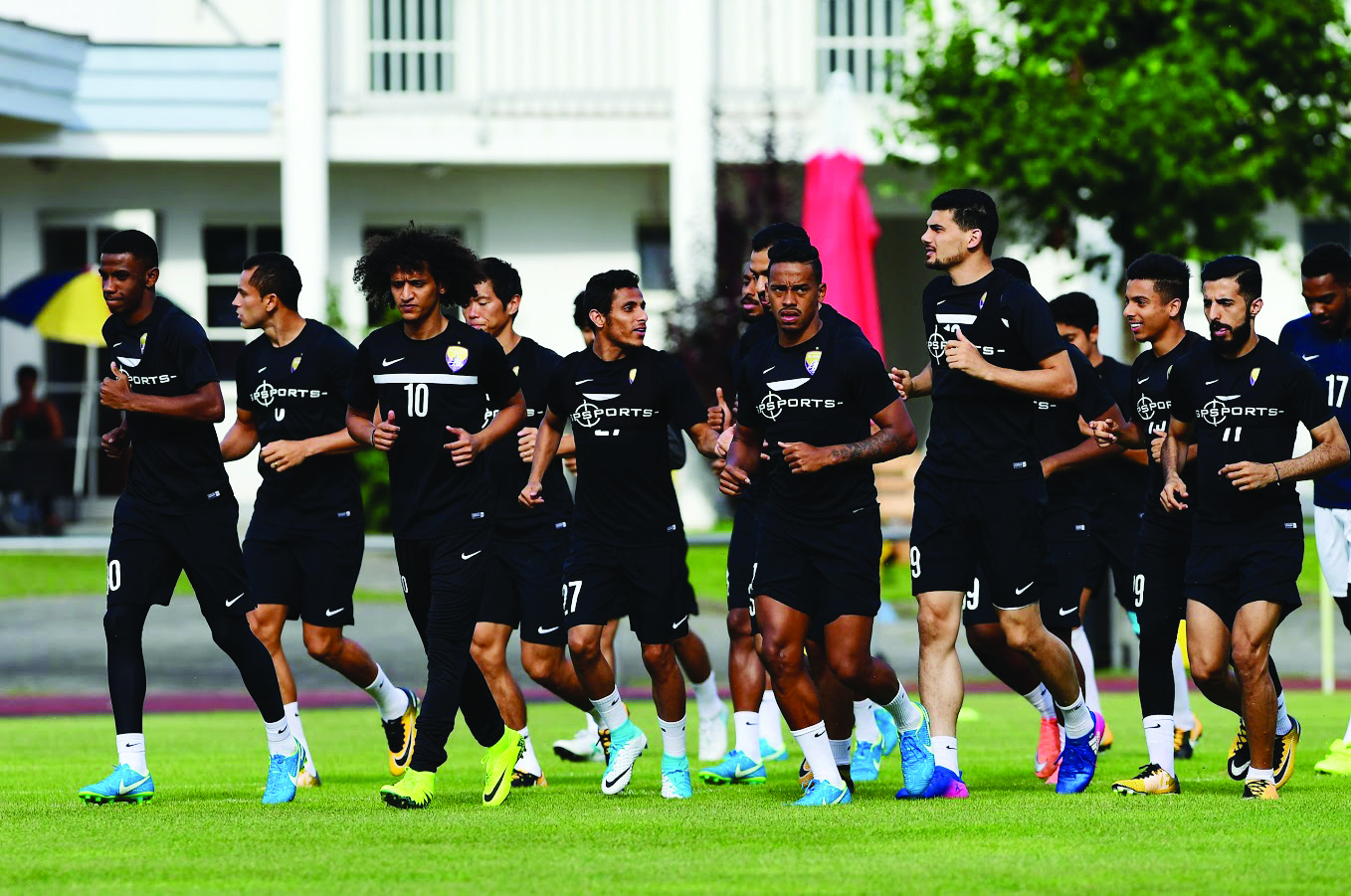 Staying in the picture: Omar Abdulrahman (3rd l) training with Al Ain in Austria this week.