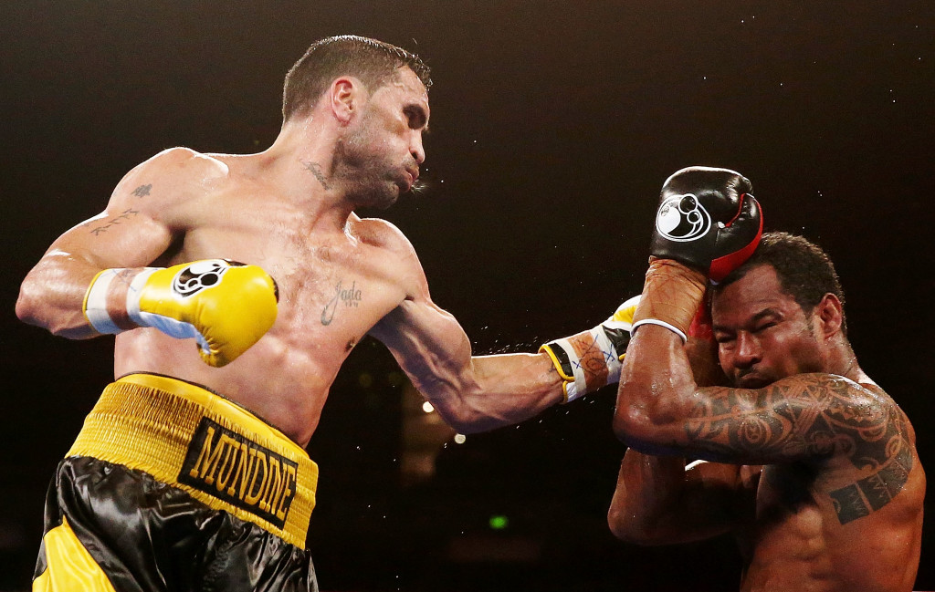 "Anthony Mundine defeated ""Sugar"" Shane Mosley in 2013."