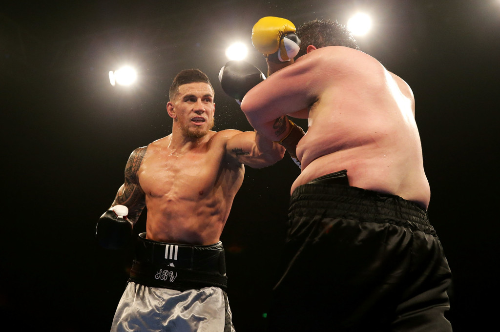 SYDNEY, AUSTRALIA - JANUARY 31: Sonny Bill Williams throws a left at Chauncy Welliver during their heavyweight bout during the Footy Show Fight Night at Allphones Arena on January 31, 2015 in Sydney, Australia. (Photo by Mark Metcalfe/Getty Images)