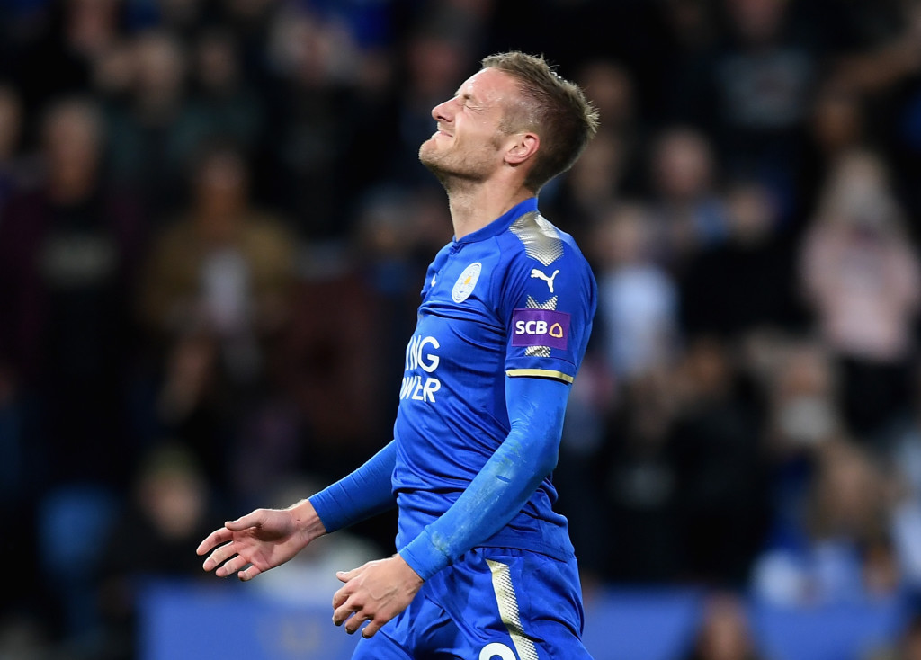 Vardy scored but missed a glorious chance to draw Leicester level.