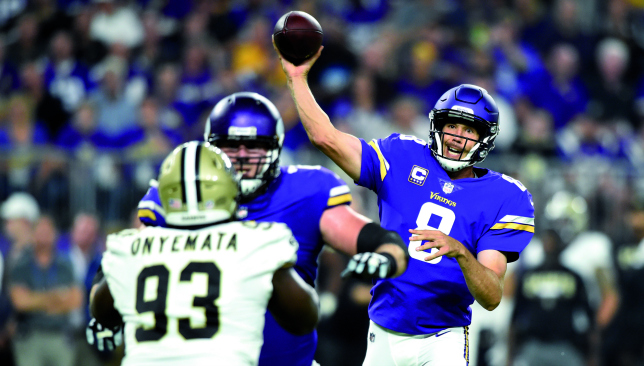 Purple patch: Sam Bradford was on fire against the Saints. Picture: Getty Images.