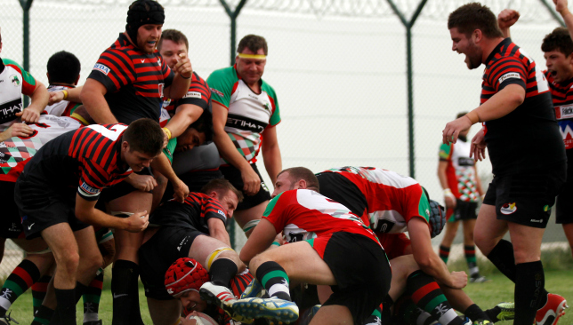 Craig Nutt (r) in action for previous club Saracens against Quins