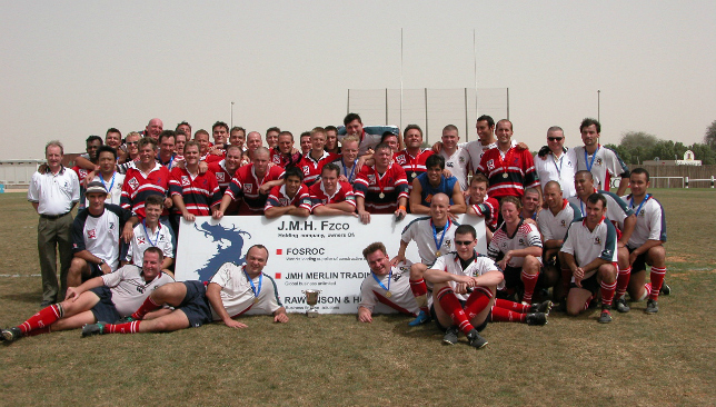 Dragons and players pictured at the final game at Dubai Exiles' old Al Awir ground in 2008
