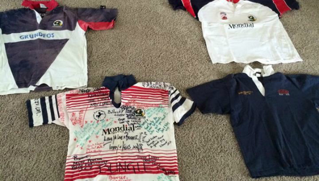 A collection of early Dragons' jerseys