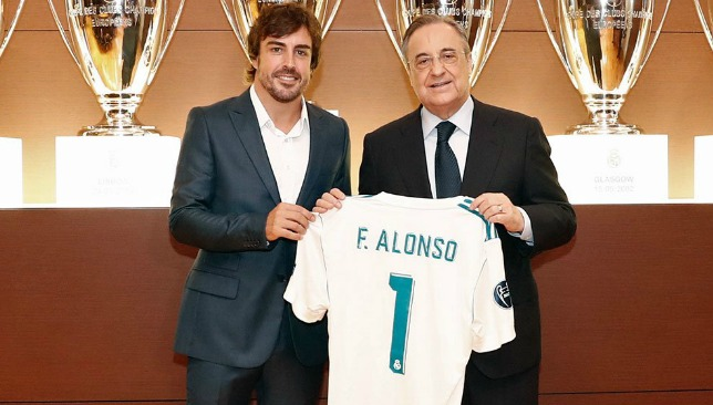 Alonso with Florentino Perez, picture credit: @realmadriden.
