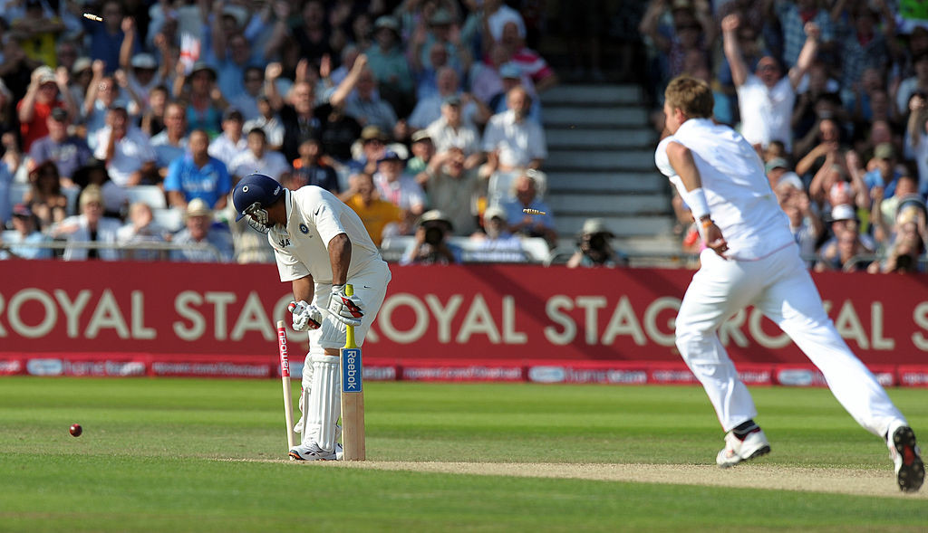 Broad completed a famous hat-trick against India at Trent Bridge.
