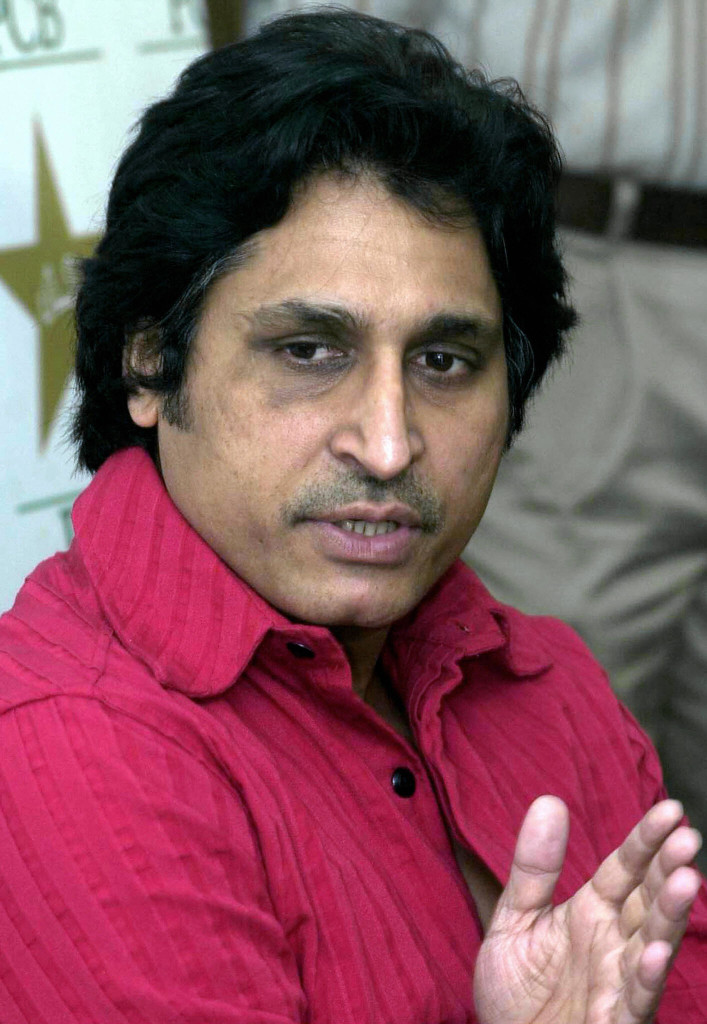 LAHORE, PAKISTAN: Pakistan Cricket Board chief executive Ramiz Raja gestures as he speaks during a a press conference in Lahore, 21 February 2004. Raja said the Indian cricket team's tour to Pakistan may have been called off if Pakistan had insisted on including Test matches at Karachi and Peshawar. India will not play Test matches at Karachi and Peshawar on next month's tour of Pakistan due to security concerns. AFP PHOTO/Arif ALI (Photo credit should read ARIF ALI/AFP/Getty Images)
