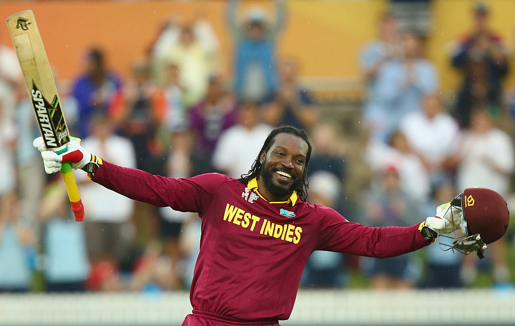 Gayle celebrates becoming the first man to hit a World Cup double hundred.