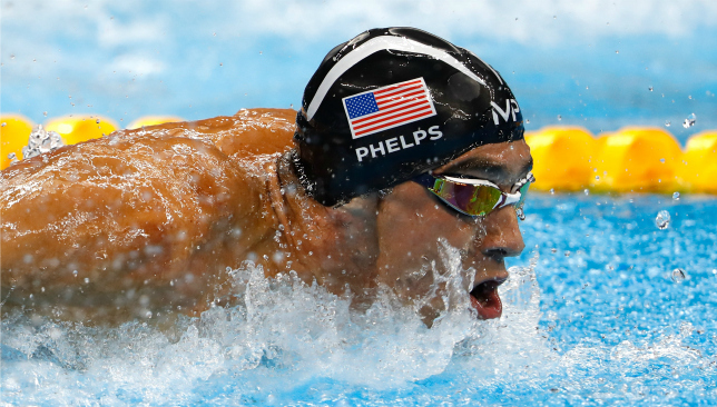 Having fun with it: Michael Phelps at the Rio Olympics. Picture: Getty Images.