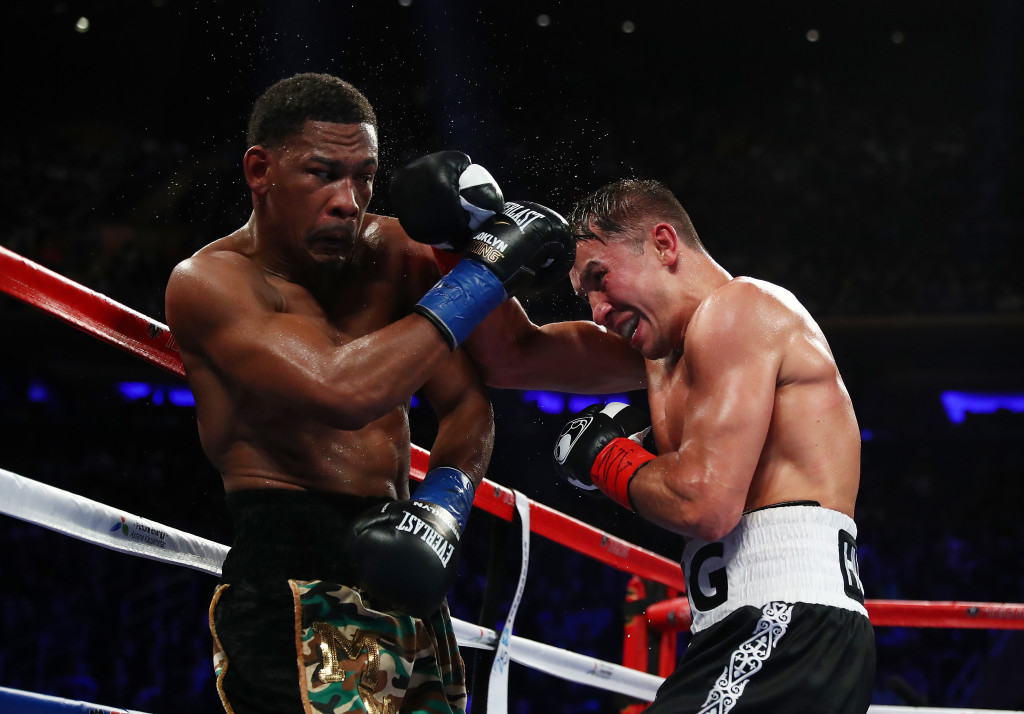 Golovkin batters Danny Jacobs against the ropes in his last outing